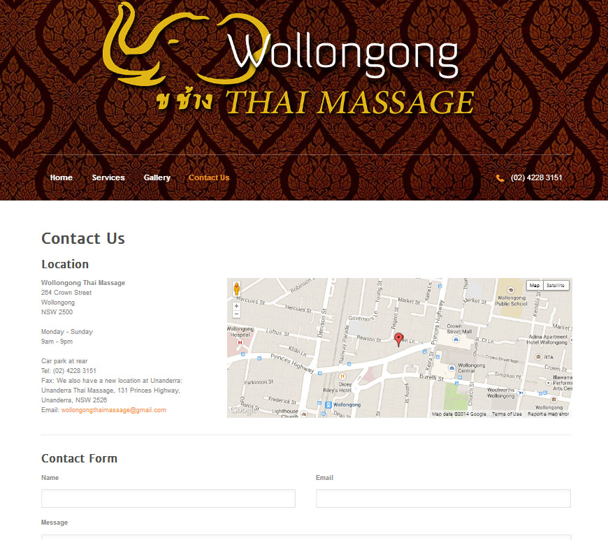 Wollongong Thai Massage Contact Page